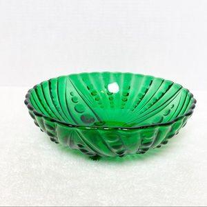 Vintage Green Glass Bowl Mid Century